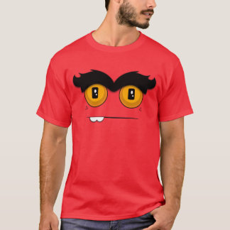 Cute and Funny Cartoon Unibrow Monster Face T-Shirt
