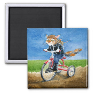 Cute and funny cat & mouse riding tricycle magnet