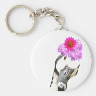 Cute and funny goose farm animals basic round button keychain