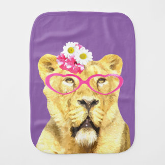Cute and funny lioness animal burp cloths