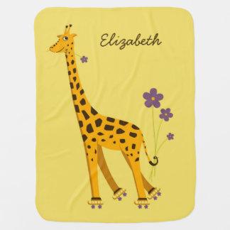 Cute And Funny Skating Giraffe Name Baby Blanket