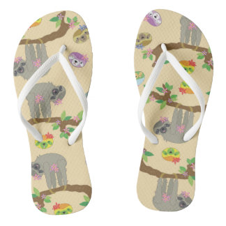 cute and funny sloth pattern flip flops
