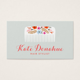 Cute and Girly Hair Stylist Floral Comb Hair Salon Business Card