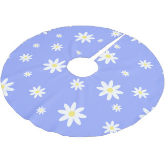 Cute and girly pastel blue and white daisy pattern brushed polyester tree skirt