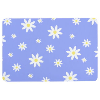 Cute and girly pastel blue and white daisy pattern floor mat
