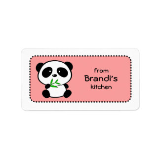 Cute and Girly Pink Panda Baking Labels