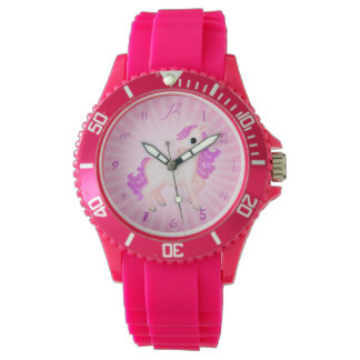 Cute and Girly Pink Pony Horse Cartoon Wristwatches