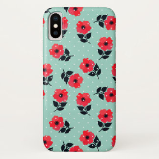 Cute and Girly Red Flowers Pattern iPhone X Case