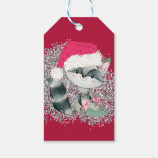 Cute and Glittery Christmas Baby Raccoon Gift Tags