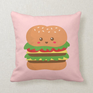 Cute and happy big burger, for fast food lovers throw pillow
