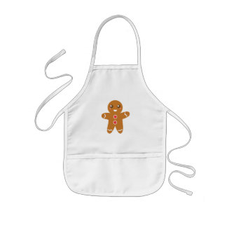 Cute and Happy Gingerbread Man for Christmas Kids Apron