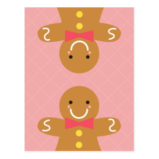 Cute and Happy Gingerbread Man for Christmas Postcard