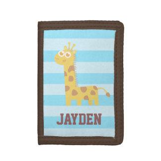 Cute and Happy Giraffe, For Children Tri-fold Wallets