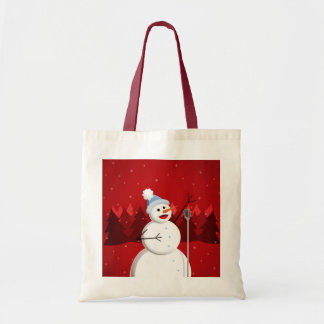 Cute And Happy Singing Snowman Christmas Tote Bag