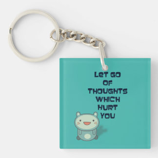 Cute and Inspirational Encouraging Quote Double-Sided Square Acrylic Keychain