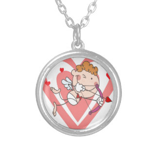 Cute and Loving Cupid Angel Silver Plated Necklace