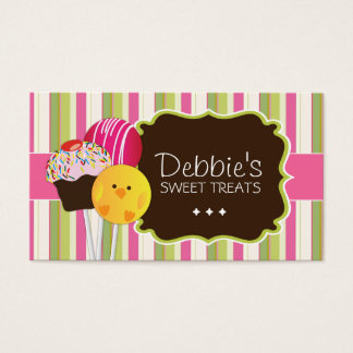 Cute and Playful Cake Pops Business Cards