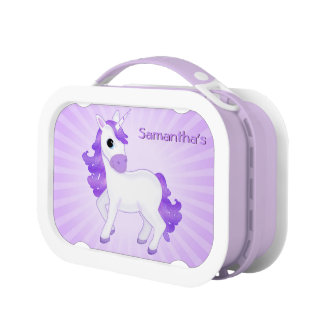 Cute and Pretty Little Purple Cartoon Unicorn Lunchboxes