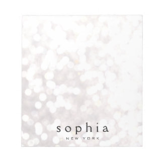 Cute and Pretty White Bokeh Glitter Notepad
