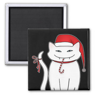 Cute and sassy funny white Christmas kitty Magnet