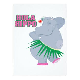 "cute and silly luau hula hippo 6.5"" x 8.75"" invitation card"