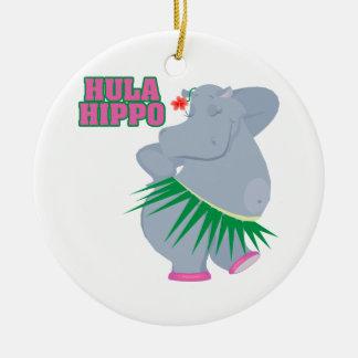 cute and silly luau hula hippo ceramic ornament