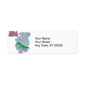 cute and silly luau hula hippo return address label