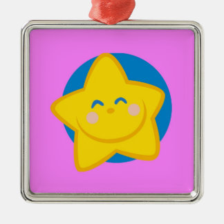Cute and Smiling Star, For Baby Girl Silver-Colored Square Ornament