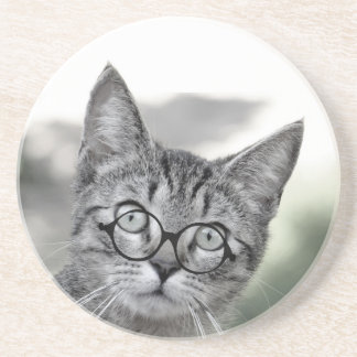 Cute and Surprised Cat with Glasses Coaster
