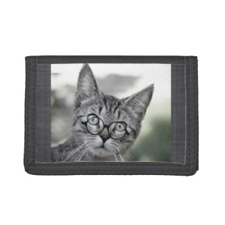 Cute and Surprised Cat with Glasses Wallet