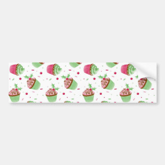 Cute and sweet Christmas colored cupcakes Bumper Sticker