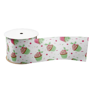 Cute and sweet Christmas colored cupcakes Satin Ribbon