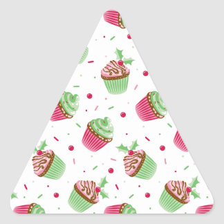 Cute and sweet Christmas colored cupcakes Triangle Sticker