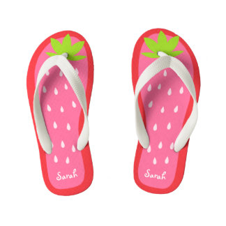 Cute and Sweet Pink Strawberry for Girl Kid's Flip Flops