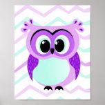 Cute and unique cartoon owl on chevron nursery poster