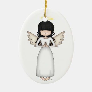 Cute and Whimsical Angel Girl with Halo Ceramic Oval Ornament