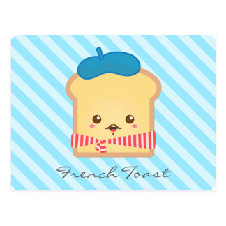 Cute and Whimsical French Toast, Food Doodle Postcard