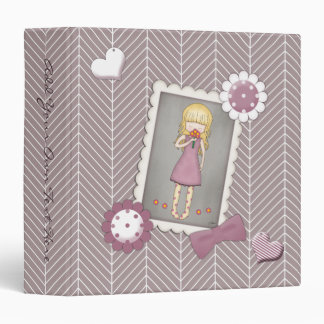 Cute and Whimsical Young Girl with Flowers Vinyl Binder