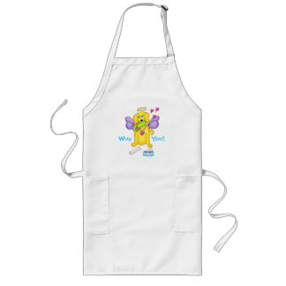 Cute Angel Dog Personalized Name Pink Long Apron