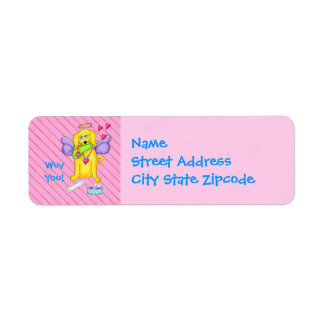Cute Angel Dog Personalized Name Pink Return Address Label