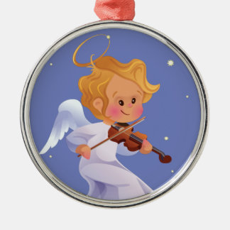 Cute angel playing violin Silver-Colored round ornament