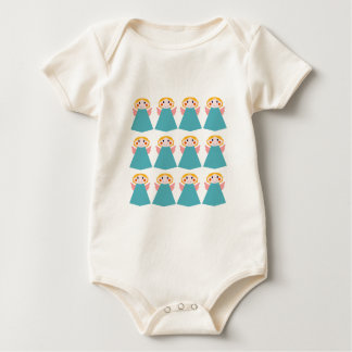 Cute angels blue on white baby bodysuit