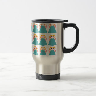 Cute angels blue on white travel mug