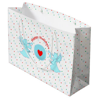 Cute angels with polka dots and snowflakes large gift bag
