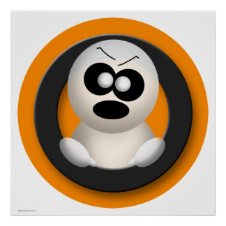 Cute Angry Ghost Orange Halloween Poster