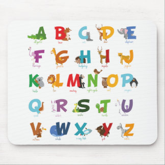 Cute Animal Alphabet Letters Mouse Pad