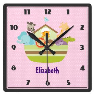 Cute Animal Ark on Pink Polka Dots Nursery Style Wall Clocks