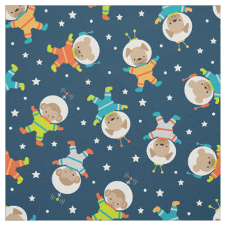 Cute Animal Astronaut and Space Fabric