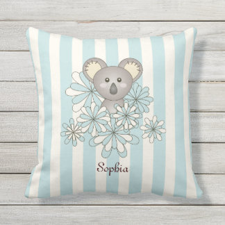 Cute Animal Baby Koala Kids Name Pastel Blue Outdoor Pillow