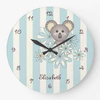 Cute Animal Baby Koala Pastel Blue Kids Room Name Large Clock